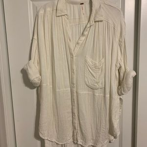 free people textured oversized button down